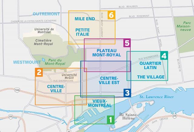 Mapa de regiões em Montreal