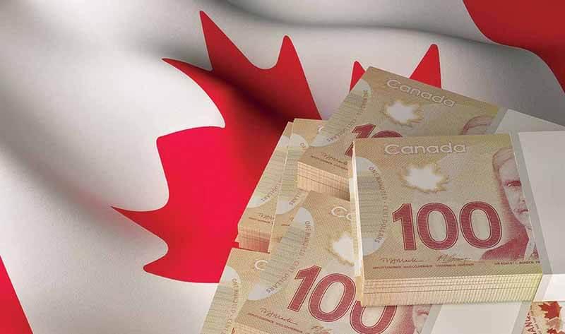 Bandeira e dólares canadenses