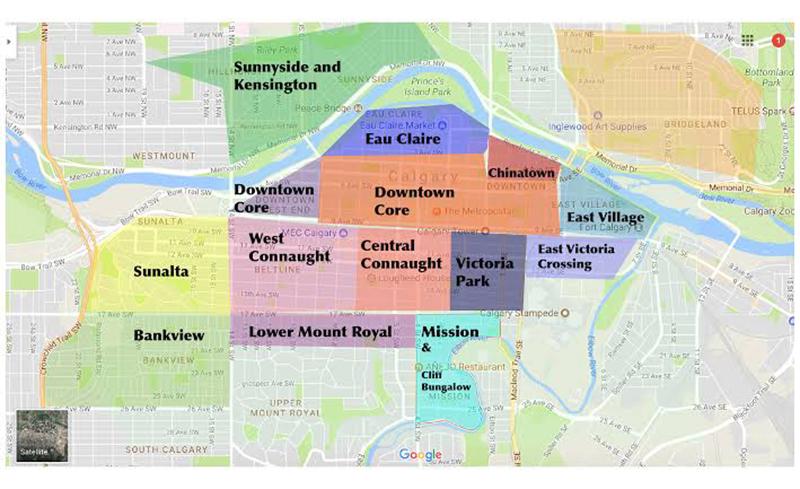 Mapa de regiões em Calgary