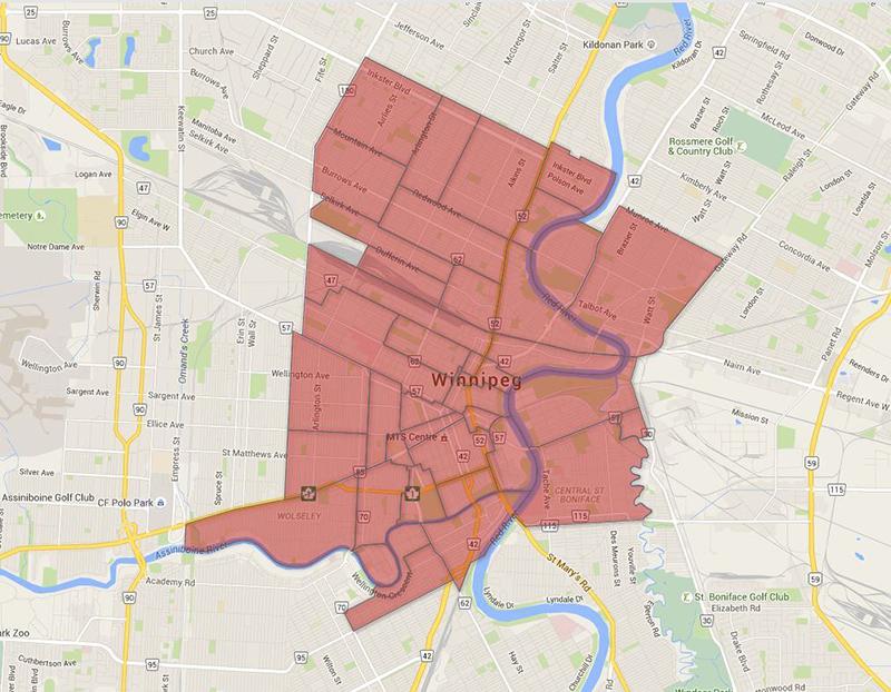 Mapa de bairros em Winnipeg