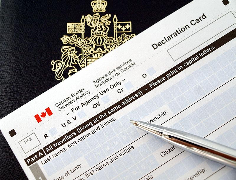 Formulário de solicitacão de vistos no Canadá