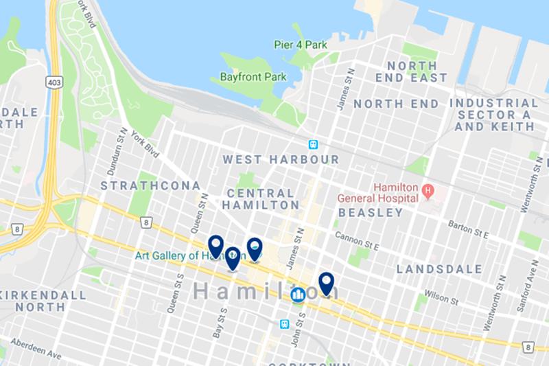 Melhor região para se hospegar em Hamilton
