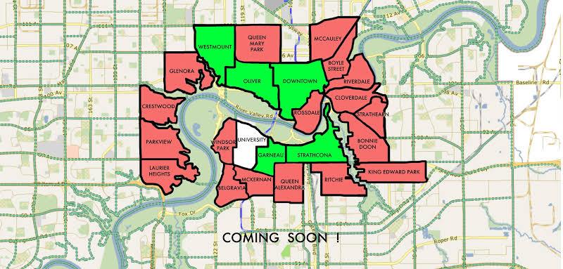 Mapa dos bairros de Edmonton no Canadá