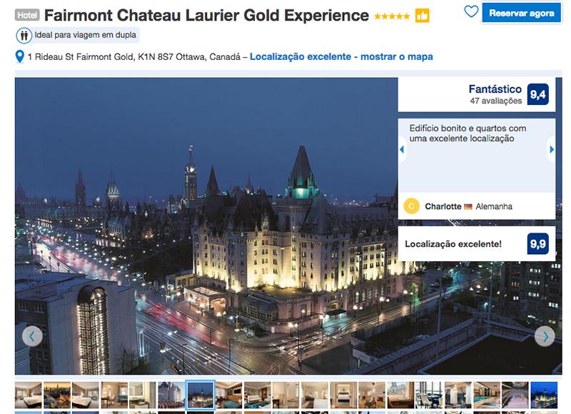 Reservas Reservas Hotel Fairmont Chateau Laurier Gold Experience em Ottawa