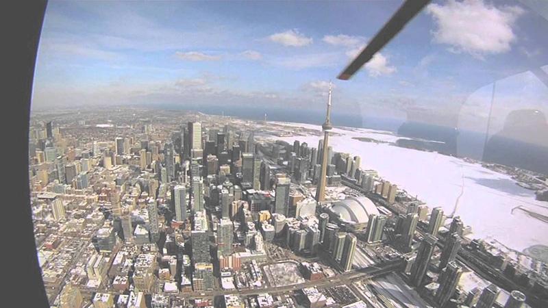 Vista de inverno na Excursão de Helicóptero em Toronto