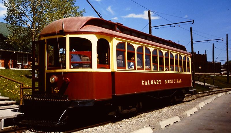 Transporte no interior do Vila do Heritage Park em Calgary
