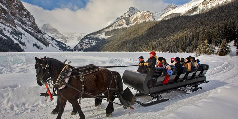 Vista do Passeio de Trenó em Banff