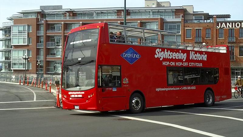 Trajeto do ônibus turístico em Victoria