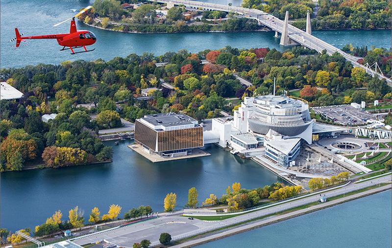 Pontos turísticos do passeio de helicóptero em Montreal