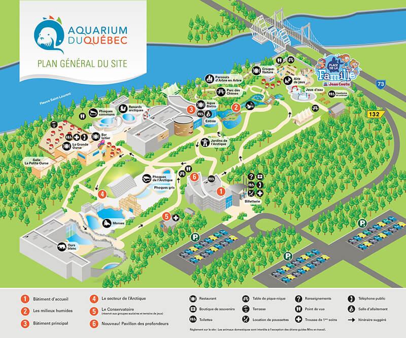 Mapa do Aquário de Quebec