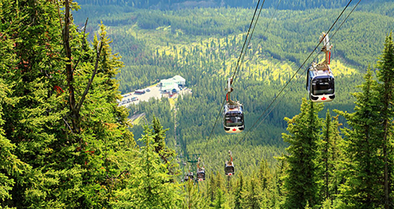 Vista de verão no passeio de Teleférico em Banff