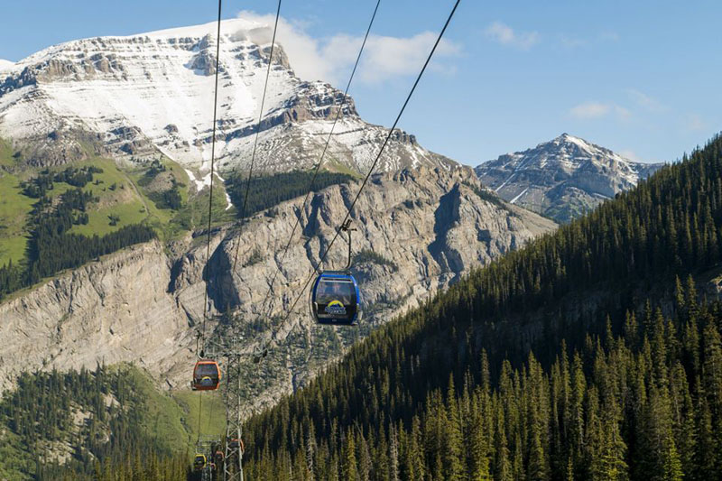 Gôndola do passeio de Teleférico em Banff