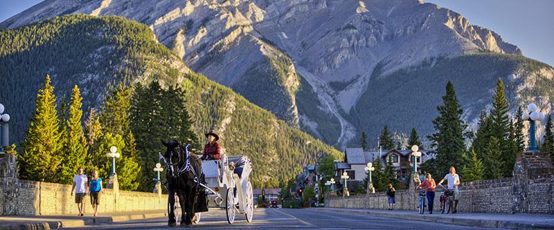 Vista panorâmica do Passeio de carruagem em Banff