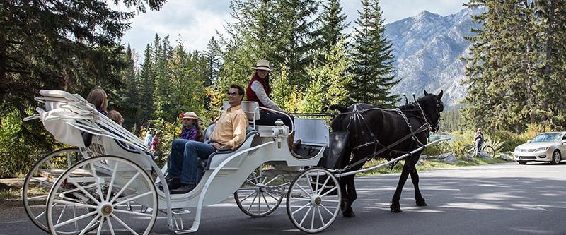Turistas no Passeio de carruagem em Banff