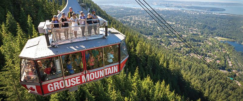 Vista do teleférico na Montanha Grouse em Vancouver